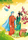 Chinese myths and legends beautiful peacock princess fall in love with brilliant prince of the dai nationality they are dressed in Royalty Free Stock Photography