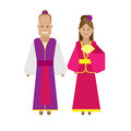 Chinese national dress illustration of costume on white background Stock Image