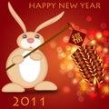 Čínština nový 2011 králík držení petardy