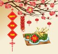 Chinese new year background blooming sakura branches, Vietnamese new year. Translation Royalty Free Stock Photo