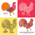 Chinese New Year background with creative stylized rooster