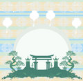 Chinese new year card asian buildings Royalty Free Stock Image