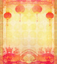Chinese New Year card - Traditional lanterns and Asian buildings Royalty Free Stock Photo