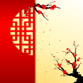 Chinese new year cherry blossom background greeting card Stock Photo