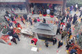 Chinese new year devotees at temple burn incense for good luck in the coming photo took in chongqing Royalty Free Stock Photography