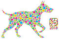 Chinese New Year Dog Polka Dots vector Illustration