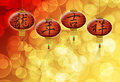 Chinese New Year Dragon Good Luck Text on Lanterns Stock Photo