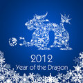 Chinese New Year Dragon with Snowflakes Pattern Stock Photos