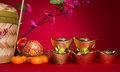 Chinese new year festival decorations ang pow or red packet and gold ingots Royalty Free Stock Images