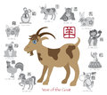 Chinese new year goat color with twelve zodiacs illustration of the in text seal in circle grayscale vector Royalty Free Stock Images