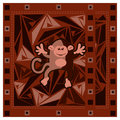 Chinese new year greeting card with monkey on triangular abstract background