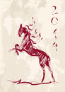 Chinese new year of the horse brush style vector file sketch drawing with grunge background illustration organized in layers for Stock Photos