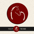 Chinese new year of the horse red circle shape file silhouette drawing with pattern background vector organized in layers for easy Stock Photography