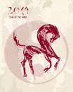 Chinese new year horse sketch style vector file of the illustration brush drawing with ying yang grunge background organized in Stock Photo