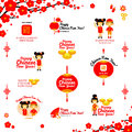 Chinese New Year Icons and logos, congratulations. Vector illustration design