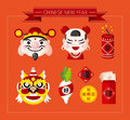 Chinese new year icons set chinese word happy congratulatio n spring blessing cartoon vector illustration Royalty Free Stock Photo