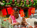 Chinese new year metro manila philippines january street vendor in his display of assorted round fruits a week before the annual Royalty Free Stock Photography