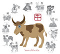 Chinese new year ox color with twelve zodiacs vector illustration of the symbol for rat tiger dragon rabbit snake monkey horse Stock Image