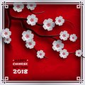 2018 chinese new year poster, red background with traditional sakura cherry flowers on tree branches, clouds, pattern oriental bac Royalty Free Stock Photo