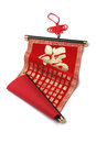 Chinese new year prosperity scroll on white background good fortune Stock Photo