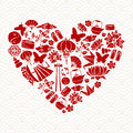 Chinese New Year red icon heart shape decoration