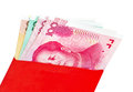 Chinese new year red packets and renminbi currency on white background Stock Image