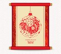 Chinese new year with rooster in ball Traditional Chinese handscroll of painting Royalty Free Stock Photo
