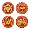 chinese new year 2021 set seals with golden oxen Royalty Free Stock Photo