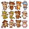 Chinese New Year Zodiac Animal Horoscope Kids Royalty Free Stock Photo