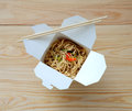 Chinese noodles in takeaway box. Royalty Free Stock Photo