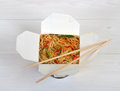 Chinese noodles in takeaway box Royalty Free Stock Photo