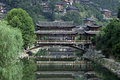 Chinese old bridge made of wood in west china guizhou Royalty Free Stock Photo
