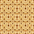 Chinese old money gold symmetry seamless pattern