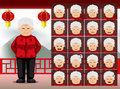 Chinese Old Woman Cartoon Emotion faces Vector Illustration Royalty Free Stock Photo