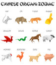 Chinese origami zodiac signs Stock Images