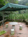 Chinese outdoor tea house with sunshade in the park Stock Photography