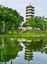 Chinese pagoda in Chinese Garden. Stock Photo