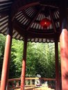 Chinese pagoda interior red lantern gardens Royalty Free Stock Photo