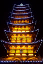Chinese pagoda light show shanghai songjiang square tower Royalty Free Stock Photos