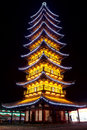 Chinese pagoda light show shanghai songjiang square tower Royalty Free Stock Photo