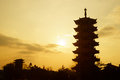 Chinese pagoda silhouette in shanghai Stock Images