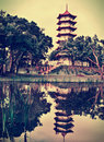 Chinese pagoda in  Singapore Royalty Free Stock Photo