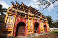 Chinese pagoda, traditional architecture with painted walls Royalty Free Stock Photo