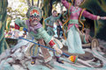 Chinese painted face warrior statue singapore february ancient with holding spear at haw par villa theme park this theme park Stock Photo