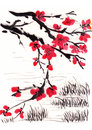 Chinese painting blossom river side on paper Royalty Free Stock Photos
