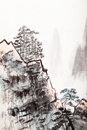 Chinese painting of high mountain traditional landscape with cloud and mist Royalty Free Stock Images