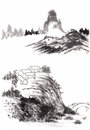 Chinese painting landscape on paper Stock Photos