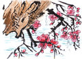 Chinese painting riverside plum flower on paper Stock Photography