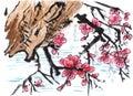 Chinese painting riverside Plum flower Royalty Free Stock Photo