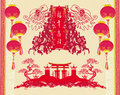 Chinese paper cut of dragon for chinese new year illustration Stock Photography